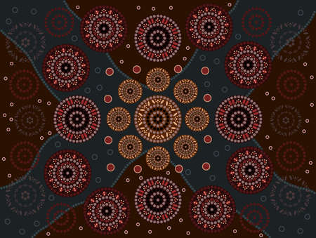 outback australia: A illustration based on aboriginal style of dot painting depicting happiness