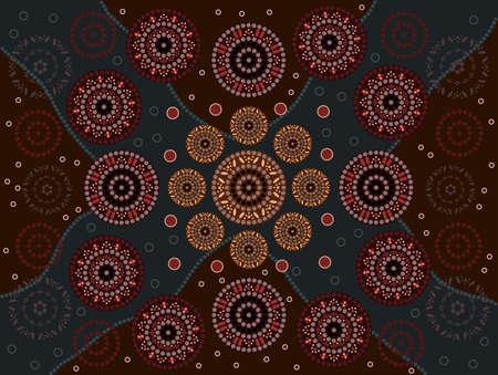 australian outback: Una ilustraci�n basada en el estilo aborigen de la pintura de puntos que representa la felicidad Vectores