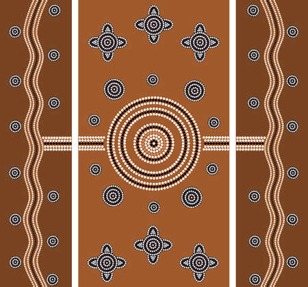 desert road: A illustration based on aboriginal style of dot painting depicting worldwide