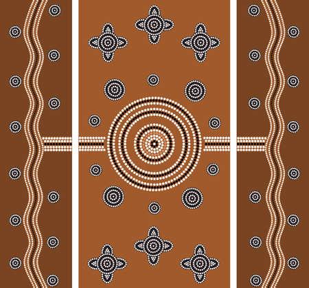 aborigen: Una ilustración basada en el estilo aborigen de la pintura de puntos que representa en todo el mundo Vectores
