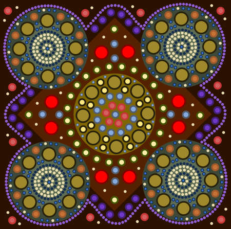 A illustration based on aboriginal style of dot painting depicting a border Vector