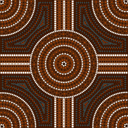 desert oasis: A illustration based on aboriginal style of dot painting depicting circle