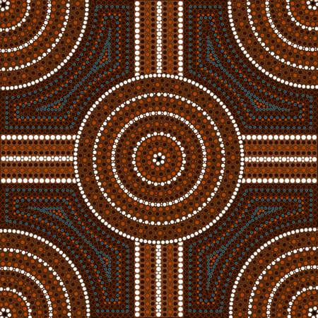 australian outback: Una ilustraci�n basada en el estilo aborigen de la pintura de puntos que representa el c�rculo