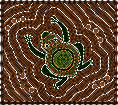 australian outback: A illustration based on aboriginal style of dot painting depicting toad