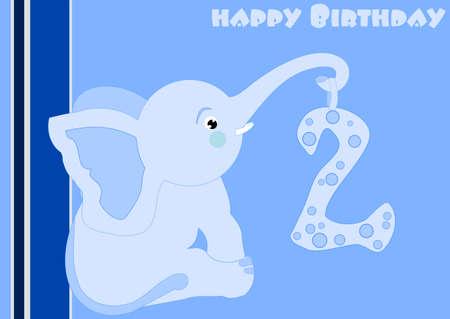 2nd Birthday - a little blue elephant  Vector