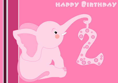 2nd Birthday - little pink elephant  Vector