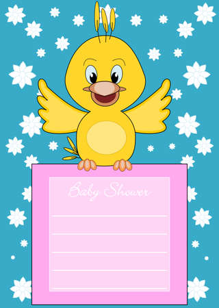 Baby Shower - cute little bird brings information Vector