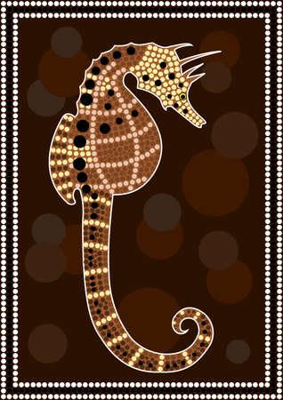 aborigen: Una ilustración basada en el estilo aborigen de la pintura de puntos que representa Seahorse