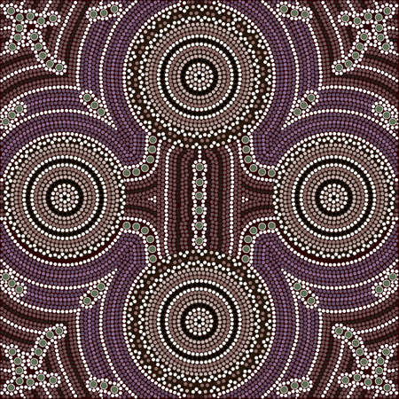 A illustration based on aboriginal style of dot painting depicting four equal Vector