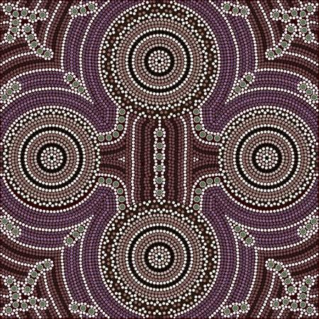 aborigen: Una ilustración basada en el estilo aborigen de la pintura de puntos que representa la igualdad de cuatro