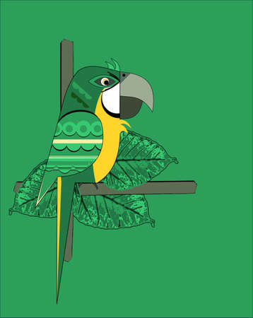 Nice parrot on green background Vector