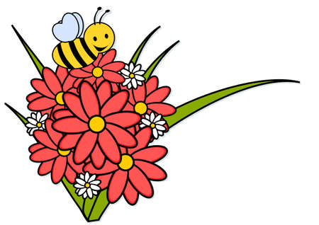 bee and flowers - illustration isolated Vector