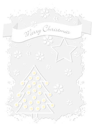 White Merry Christmas card with yellow balls Stock Vector - 14181768