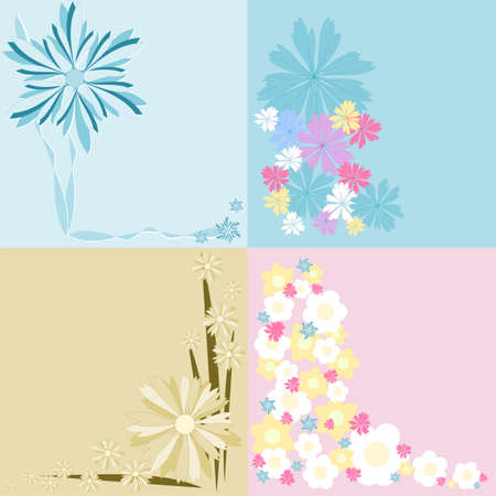 Flower Background - Set of 4  Flower Backgrounds in pink, blue and yellow colours Stock Vector - 14390017