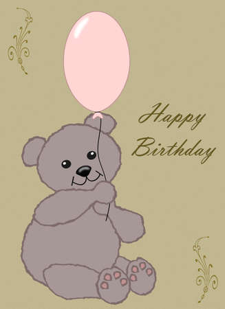 gratulation: Happy Birthday - little brown teddy with pink balloon Stock Photo