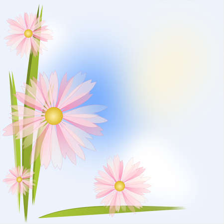 Flower Background in white, blue, pink and yellow colours Stock Photo - 14480192