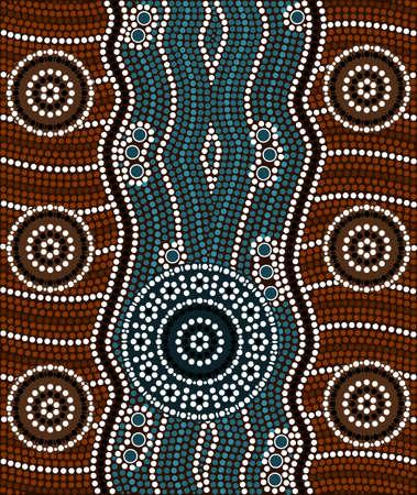 aborigen: Una ilustración basada en el estilo aborigen de la pintura de puntos que representa el río Vectores