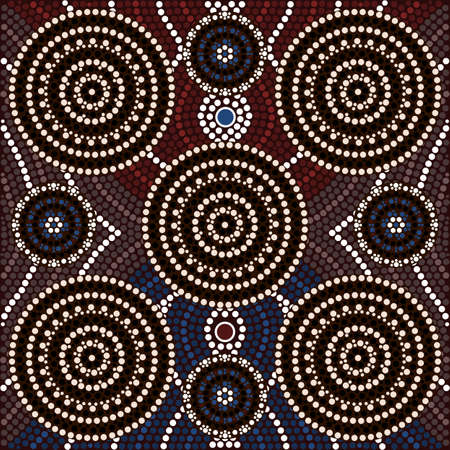 australian outback: A illustration based on aboriginal style of dot painting depicting Being and seeming Illustration