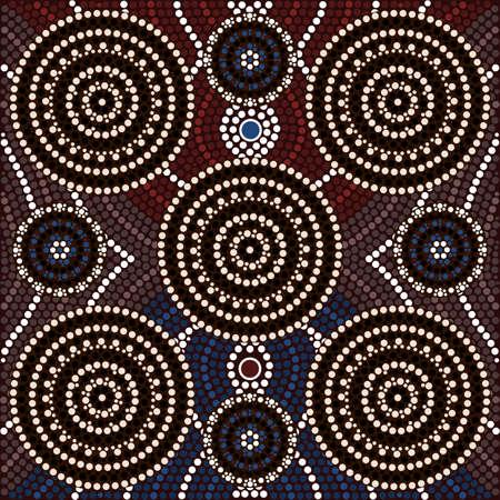 aborigen: Una ilustración basada en el estilo aborigen de la pintura punto que representa el Ser y parecer