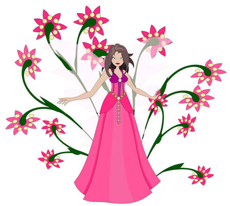 Cute pink pixie in nice pink dress Vector