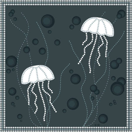 aborigen: Una ilustración basada en el estilo aborigen de la pintura punto que representa las medusas