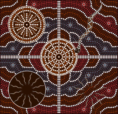 frilled: A illustration based on aboriginal style of dot painting depicting snakes