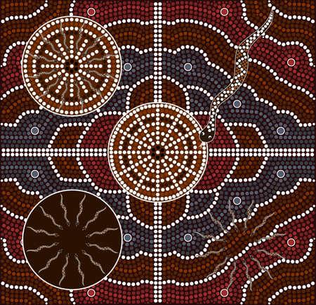 aborigen: Una ilustración basada en el estilo aborigen de la pintura punto que representa las serpientes
