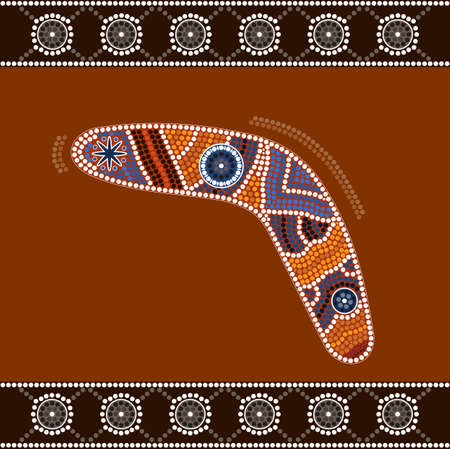 australian outback: A illustration based on aboriginal style of dot painting depicting boomerang