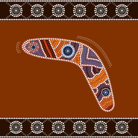 aboriginal: Una ilustraci�n basada en el estilo aborigen de la pintura punto que representa boomerang Vectores