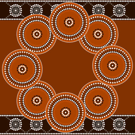 aborigen: Una ilustración basada en el estilo aborigen de la pintura punto que representa círculo Vectores