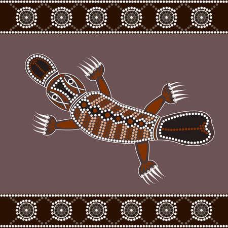 カモノハシを描いたドット絵のアボリジニのスタイルに基づく図  イラスト・ベクター素材