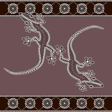 aborigen: Una ilustración basada en el estilo aborigen de la pintura punto que representa lagarto