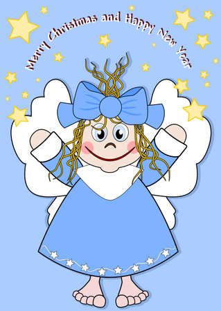 star cartoon: Cute little angel with a big smile Illustration