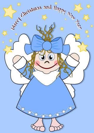 estrella caricatura: Ángel lindo con una gran sonrisa Vectores