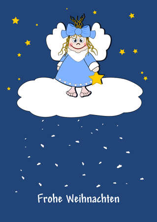 Cute little angel on a cloud Vector