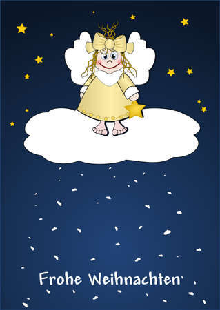 Cute little angel on a cloud photo