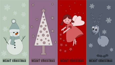 special christmas price tags with angel, snowman, reindeer and christmas tree Vector