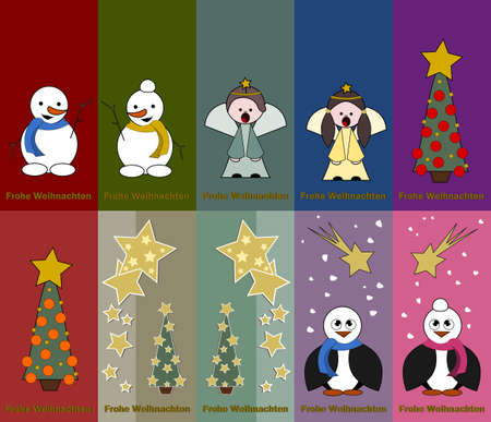 pinguin: special christmas tags with angel, snowman, pinguin and christmas tree  Illustration