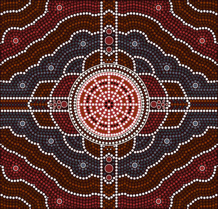 australian outback: A illustration based on aboriginal style of dot painting depicting transformation