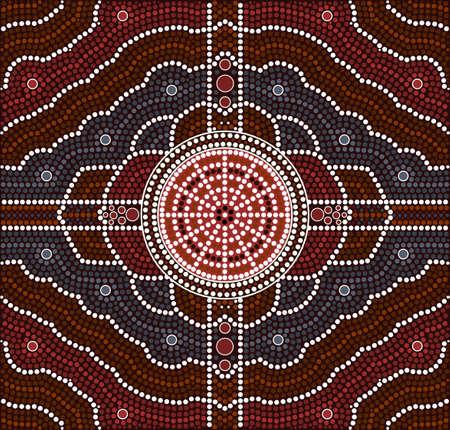 aborigen: Una ilustración basada en el estilo aborigen de la pintura punto que representa la transformación