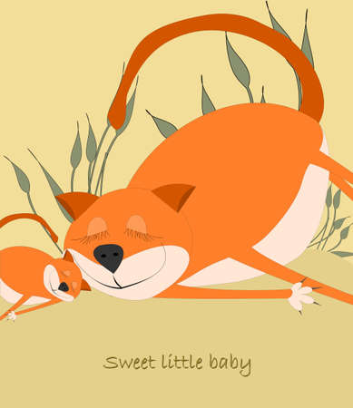 Big cute orange Cat with baby  Vector