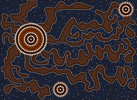 aboriginal art: A illustration based on aboriginal style of dot painting depicting tortuous path