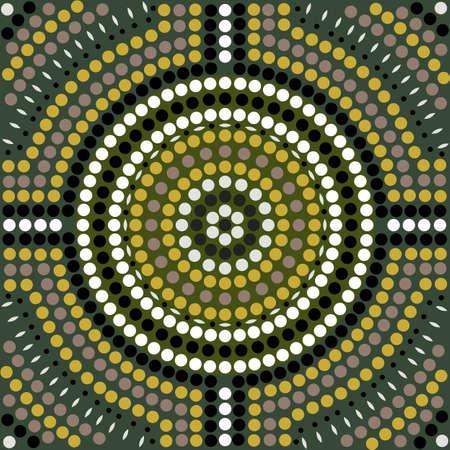 aborigen: Una ilustración basada en el estilo aborigen de la pintura punto que representa patrón