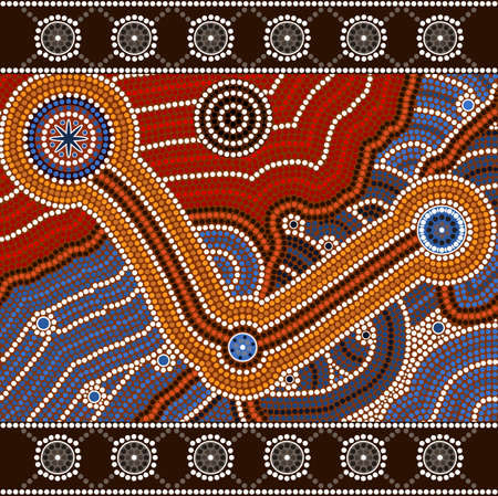 A illustration based on aboriginal style of dot painting depicting opposites Vector