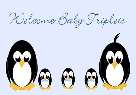 Welcome Baby Penguins - triples 3 boy Stock Vector - 16876860