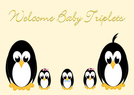 baby arrival: Welcome Baby Penguins - triples 2 girls and 1 boy Illustration