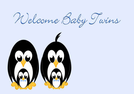 Welcome Baby - Penguins twins 2 boys photo