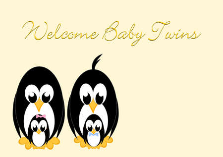 baby announcement: Welcome Baby - Penguins twins 1 girl and 1 boy Stock Photo