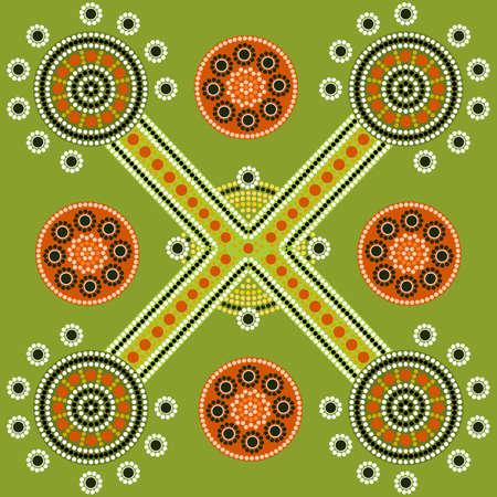 A illustration based on aboriginal style of dot painting depicting pattern Stock Illustration - 17102654
