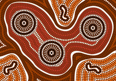 A illustration based on aboriginal style of dot painting depicting 3 of kind illustration